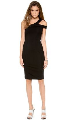 black dress. ponte. off the shoulder