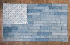 """Two layers of 100% organic natural dye cotton jerseyin various shades of Indigo, stenciled and ready-to-sew using techniques from our Alabama Studio book series. Kit comes cut, painted, and ready-to-sew with all materials. Finished size: 103"""" X 62""""."""