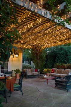 Flagstone Patio with Pergola and Outdoor Garden Furniture