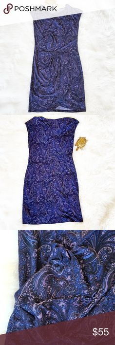 NWT $120 size M Michael Kors Paisley Dress Michael Kors Paisley Dress Colors are shades from Indigo to Lavendar Made with 95% polyster 5% Spandex Unique ruching in the front of the dress Originally $120, New with Tags. Michael Kors Dresses Midi