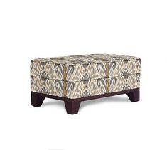 Seabury Upholstered Ottoman, Polyester Wrapped Cushions, Ikat Geo Gray at Pottery Barn Upholstered Ottoman, Furniture, Cushions, Mortise And Tenon, Ottoman Bench, Interior Design, Guest Bedroom, Interior Design Services, Slatted Shelves