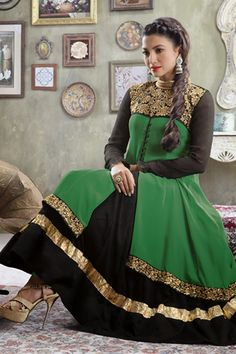 Presenting Green and Black Faux Georgette #Anarkali #Suit with Embroidered and Lace Work Order Now@ http://zohraa.com/black-faux-georgette-suit-kesaria2024.html Rs. 2,599.