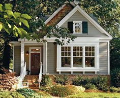 Pretty confident this will be the color scheme for the new house minus the cedar. Brick foundation, medium gray, and dark-dark navy almost black shutters.