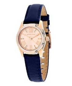 This Rose Goldtone & Navy Lexington Mini Leather-Strap Watch is perfect! #zulilyfinds