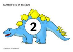 Numbers 0-50 on dinosaurs (SB620) - SparkleBox