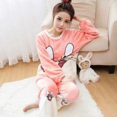 2018 Autumn Winter Women Pajamas Set Sleep Jacket Pant Sleepwear Warm  Nightgown Female Cartoon Bear Animal Pants Sleepwear 781fa5628