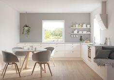 Jeløy Hvit er en røff kjøkkenmodell med mange muligheter. Modellen har slette og slitesterke fronter som er praktiske og rengjøringsvennlige.