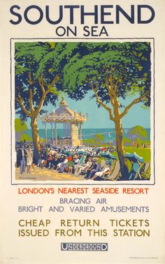 Southend-on-Sea; bandstand - Walter E Spradbery Posters Uk, Railway Posters, Travel Posters, Vintage Posters, Poster Prints, Transport Posters, Streetfood Market, Epping Forest, London Transport Museum