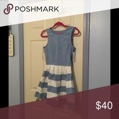 Final price! Pretty blue and white striped dress Please forgive the wrinkles. If purchased I will steam it before shipping. Selling this for a friend NWT. If she weren't a toothpick, I would keep this for myself... Fashionomics Dresses