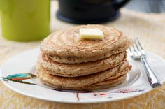 Oatmeal Pancakes: This pancake batter is gluten free, dairy free and takes about 5 minutes to whip up. Plus these don't require any special flours... just a few handfuls of oats and almonds. Easy and yummy.