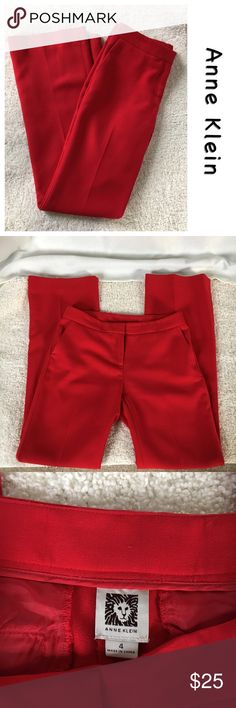 """Relaxed fit yet refined slacks Anne Klein, true red slacks, so fun to wear, sophisticated cut and fit. 32"""" inseam. 63% Polyester, 35% Viscose, 2% Elastic. Final photo is to show fit, pants for sale are a true red. Anne Klein Pants Trousers"""