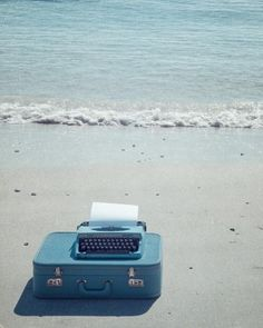 Typing on the beach!
