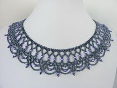 Seed bead jewelry DIY Jewelry: FREE beading pattern for an elegant beaded lace necklace made from seed beads and pearls. An ornate yet graceful Beaded Necklace Patterns, Lace Necklace, Seed Bead Necklace, Jewelry Patterns, Necklace Designs, Necklace Chart, Necklace Ideas, Bead Earrings, Bracelet Patterns