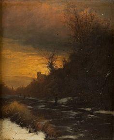 Ice pleasure at sunset by Heinrich Gogarten Winter Landscape, Landscape Art, Landscape Paintings, Nocturne, Paint Themes, Vintage Landscape, Old Paintings, Romanticism, Impressionism