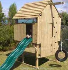 Playhouse Swing Set Plans | How to Build a Kids Treeless Play Fort Woodworking Plan