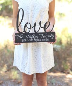 Black & White 'Love' Personalized Family Wall Sign #zulily #zulilyfinds