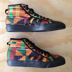 Jeremy Scott Adidas Kente Cloth Nizza 11 10.5 Hi Tops Wings Sneakers Dutch Wax on eBay! LOVE!