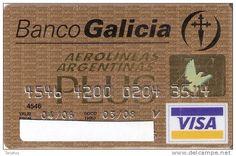 TARJETA VISA DE LAS AEROLINEAS ARGENTINAS PLUS  (AVION-PLANE) BANCO GALICIA