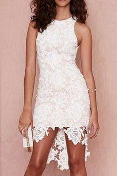 White Lace Round Neck Sleeveless Dress $18.49
