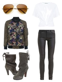 French Connection bomber by trinabwallace on Polyvore featuring polyvore, fashion, style, T By Alexander Wang, French Connection, Prada, Noisy May and clothing