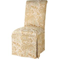 Skirted Parsons side chair with champagne floral upholstery.    Product: ChairConstruction Material: Polyester and ra...
