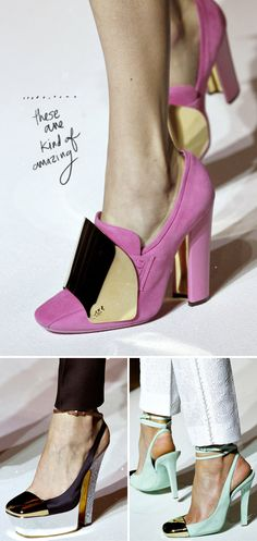 Love the overall design of these YSL shoes (though for the top photo, I would like to see a color other than pink).