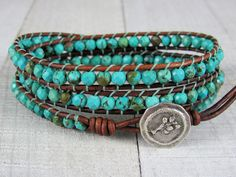 Turquoise Triple Wrap Bracelet For Women - Turquoise and  Leather Wrap Bracelet - Gemstone Bracelet - Gift for Her by NimbleKnots Studio