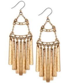 Lucky Brand Gold-Tone Antiqued Fringe Drop Earrings