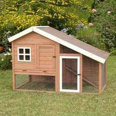A safe, secure two level chicken coop or rabbit hutch      Includes nesting box with roosting bar      Constructed of sturdy fir wood      Complete with removable pan for easy cleaning      Easy assembly