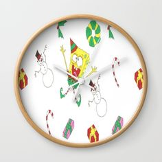 Spongebob Christmas Wall Clock