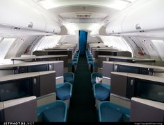 Cathay Pacific Boeing 747 upper deck business class cabin. CX261 - 20MAR12 Hong Kong to Paris CDG.