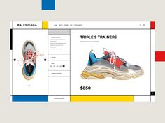 Triple S Trainers designed by Ika Gruzin for Adjara Design. Connect with them on Dribbble; Website Layout, Web Layout, Layout Design, Ui Website, Ui Ux Design, Interface Design, Brochure Design, Mise En Page Web, Website Design Inspiration