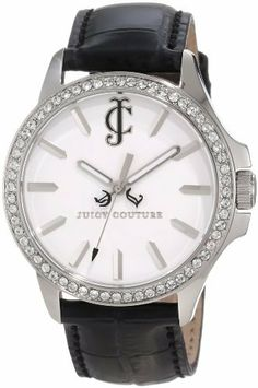Juicy Couture Women's 1900972 Jetsetter Black Leather Strap Watch Juicy Couture. $225.00. White swarovski crystal set bezel. Black croc embossed leather strap. Water-resistant to 30 M (99 feet). Japanese quartz movemet. 38 mm stainless steel round case
