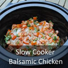 "Slow Cooker Balsamic Chicken - would be delish over spaghetti squash or zucchini ""noodles,"" mashed potatoes, or mashed/pureed cauliflower!"