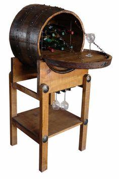 Barrel furniture.  Half barrel wine rack.  Barrel bar.
