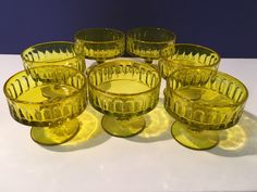 Excited to share this item from my shop: Dessert Glass RARE Chartreuse Depression Glass Ice Cream SHERBET'S Vintage Dinnerware, Vintage Glassware, Antique Glass, Rare Antique, Chartreuse Decor, Colour Story, Bedroom Color Schemes, Unique Lamps, Indiana Glass