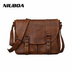NIUBOA Genuine Leather Men Bag Retro Hand Rub Color Shoulder Crossbody Bags High Quality Casual Men's Briefcase Messenger Bags