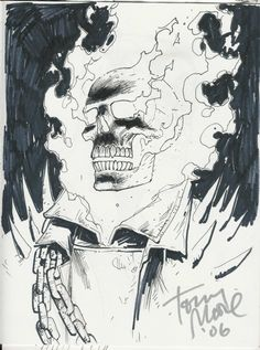 Tony Moore - Ghost Rider Artist: Tony Moore (Penciller) Mo-Kan Comic Con Pen and Ink Ghost Rider Drawing, Ghost Rider Tattoo, Pencil Art Drawings, Drawing Sketches, Ghost Rider Pictures, Ghost Rider Marvel, Marvel Drawings, Marvel Comics Art, Inktober