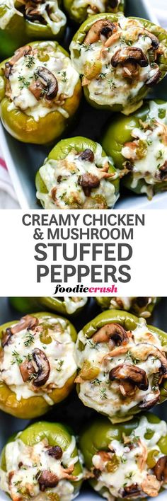 Creamy Chicken and Mushroom Stuffed Peppers Recipe | foodiecrush.com #recipes #stuffed #bellpepper #casserole #dinnertime #dinnerideas #chickendinner #food