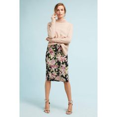 Maeve Floral Jacquard Pencil Skirt ($98) ❤ liked on Polyvore featuring skirts, blue motif, blue floral skirt, floral knee length skirt, floral-print pencil skirts, knee length pencil skirt and floral print skirt
