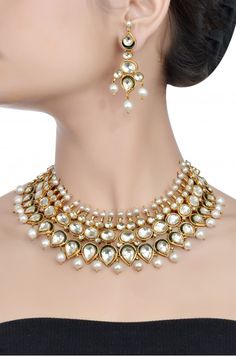 Silver Traditional Crystal Necklace Set
