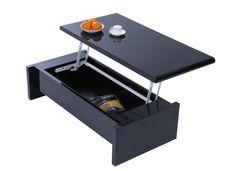 Table basse design réglable noire avec rangement LOLA - Zoom