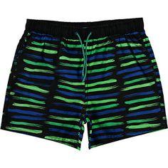 Black & Green Striped Swim Shorts