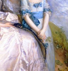 Hester, Countess of Sussex, and her Daughter, Lady Barbara Yelverton - Thomas Gainsborough. Detail.