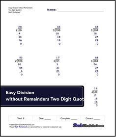 Links to free math worksheets for Long Division problems with and without remainders. It also includes answer keys. Check them out here!