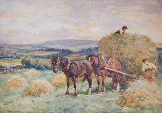 Harvesting in_Glaisdale by John Atkinson (Staithes Group) Farm Art, Horse Carriage, Country Scenes, Paintings I Love, Watercolor Landscape, Country Life, Harvest, Knight, Images