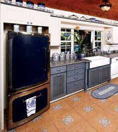 Love how these counter tops complement the Blue Willow Kitchen