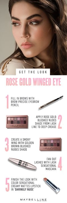 Rose gold wing with Blushed Nudes eyeshadow palette