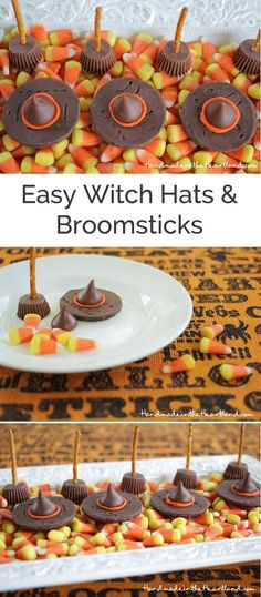 Easy Candy Witch Hats & Broomsticks. This fun halloween food craft is the perfect fall treat recipe for kids and fall parties! So fun and so easy!