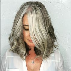 Medium-Gray-Balayage-Hairstyle-for-Thick-Hair Gorgeous Gray Hair Styles Try In 2020 Grey Hair Don't Care, Grey Curly Hair, Long Gray Hair, Silver Grey Hair, Curly Hair Styles, Thick Hair, Brown Hair, Wavy Hair, Ombre Hair
